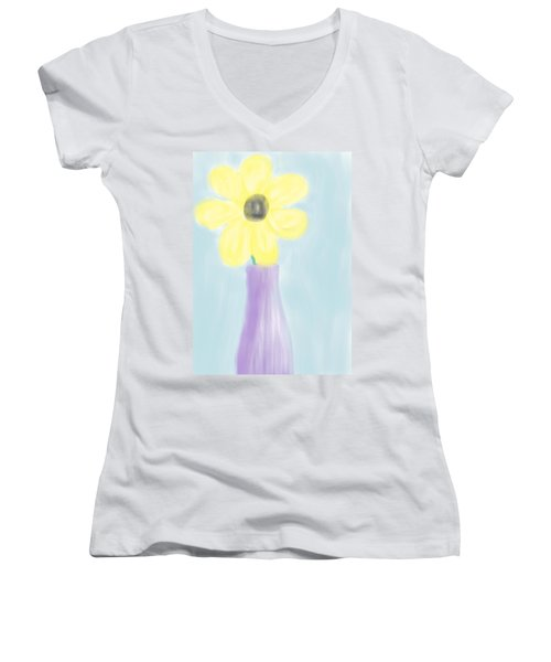 A Flower For Mo Women's V-Neck T-Shirt (Junior Cut) by Heidi Smith