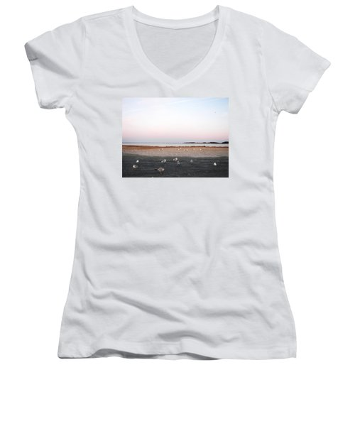 Women's V-Neck T-Shirt (Junior Cut) featuring the photograph A Gathering On Rehoboth Bay by Pamela Hyde Wilson