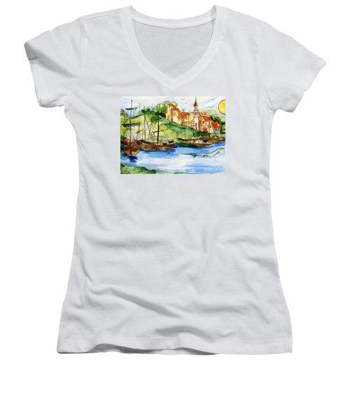 A Little Fisherman's Village Women's V-Neck T-Shirt