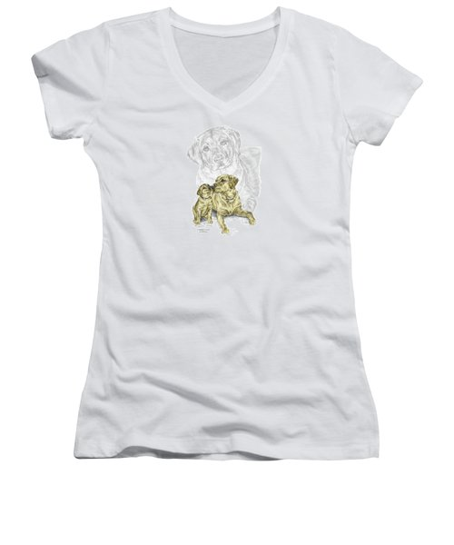 A Mothers Love - Labrador Dog Print Color Tinted Women's V-Neck T-Shirt (Junior Cut) by Kelli Swan