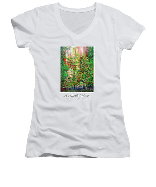 Women's V-Neck T-Shirt (Junior Cut) featuring the painting A Peaceful Place Poster by Dan Whittemore