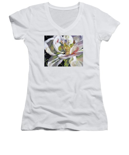 A Rose By Any Other Name Women's V-Neck T-Shirt (Junior Cut) by Rae Andrews