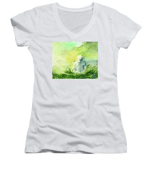 Women's V-Neck T-Shirt (Junior Cut) featuring the painting A Statue At The Wellers Carriage House -5 by Yoshiko Mishina