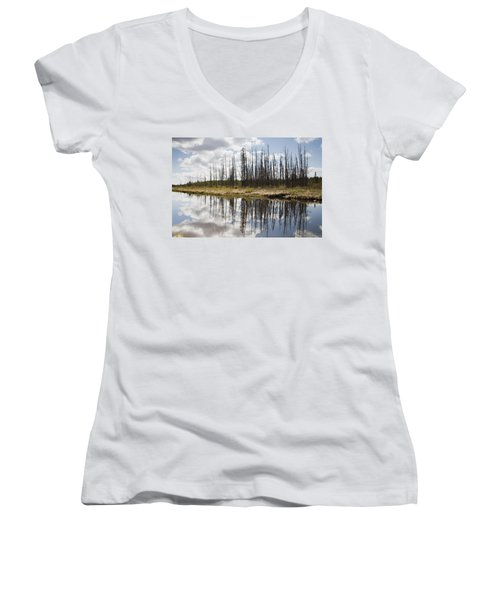 Women's V-Neck T-Shirt (Junior Cut) featuring the photograph A Tranquil River With A Reflection by Susan Dykstra