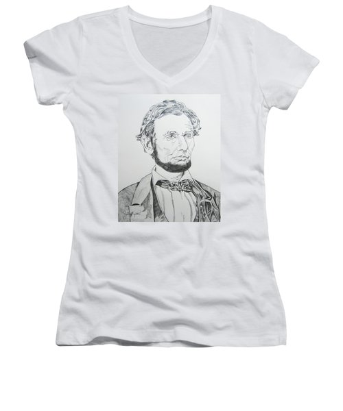 Abraham Lincoln Women's V-Neck T-Shirt (Junior Cut) by John Keaton