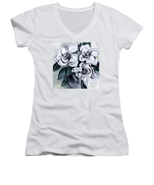 Abstract Gardenias Women's V-Neck