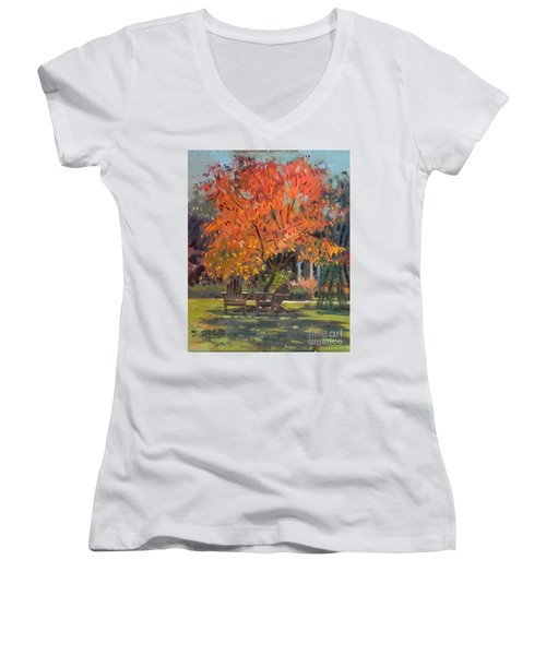 Women's V-Neck T-Shirt (Junior Cut) featuring the painting Adirondack Chairs by Donald Maier