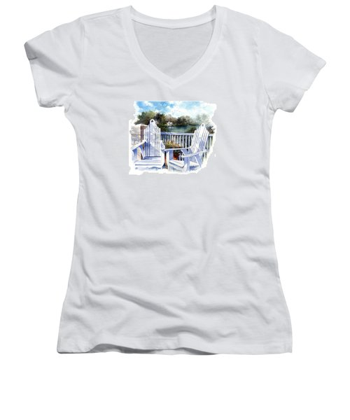 Women's V-Neck featuring the painting Adirondack Chairs Too by Andrew King