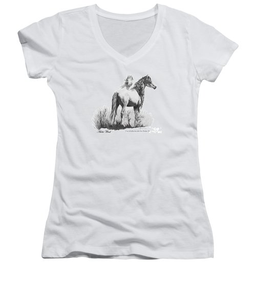 Women's V-Neck T-Shirt (Junior Cut) featuring the drawing Adobe Wind by Marianne NANA Betts