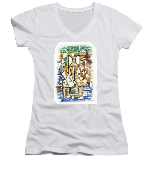 Akko Port Landscape Abstract Blue Green Ocean Water Sun Sky Brown Yellow Colorful City Beach Light Women's V-Neck T-Shirt