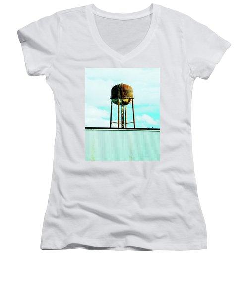 Women's V-Neck T-Shirt (Junior Cut) featuring the photograph Along Highway 61 by Lizi Beard-Ward