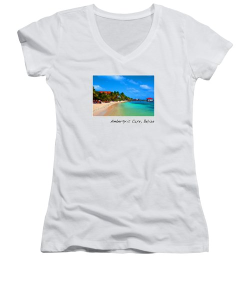 Ambergris Caye Belize Women's V-Neck (Athletic Fit)