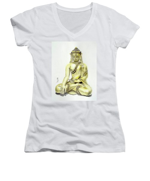 Women's V-Neck T-Shirt (Junior Cut) featuring the painting An Orient Statue At Toledo Art Museum - Ohio-3 by Yoshiko Mishina
