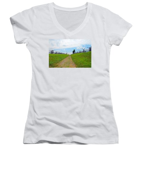 Women's V-Neck T-Shirt (Junior Cut) featuring the photograph Antietam Battle Of Bloody Lane by Cindy Manero