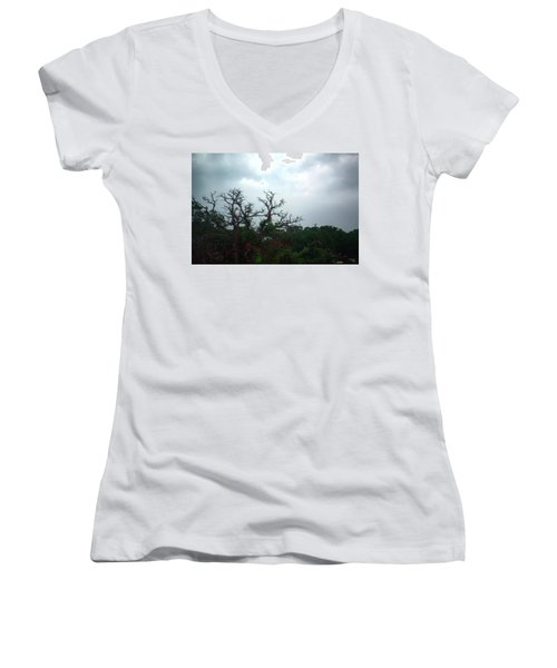Women's V-Neck T-Shirt (Junior Cut) featuring the photograph Approaching Storm Viewed Through My Rain Streaked Window by Lon Casler Bixby