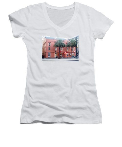 Women's V-Neck T-Shirt (Junior Cut) featuring the photograph Arby's At Dawn by Alys Caviness-Gober
