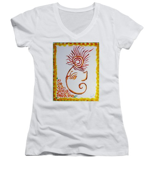Women's V-Neck T-Shirt (Junior Cut) featuring the painting Artistic Lord Ganesha by Sonali Gangane
