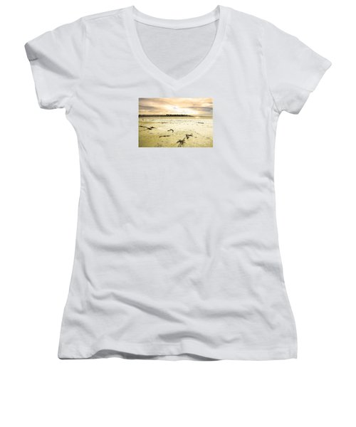 Women's V-Neck T-Shirt (Junior Cut) featuring the photograph At Caroline Bay Timaru New Zealand by Nareeta Martin