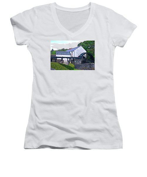 Women's V-Neck T-Shirt (Junior Cut) featuring the photograph Auld Mill  by Charlie and Norma Brock
