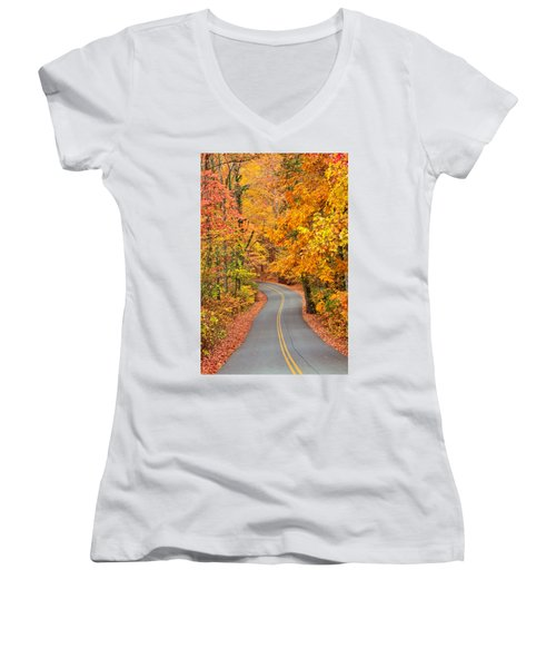 Autumn Drive Signal Mountain Women's V-Neck