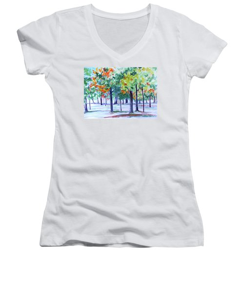 Autumn In The Park Women's V-Neck (Athletic Fit)