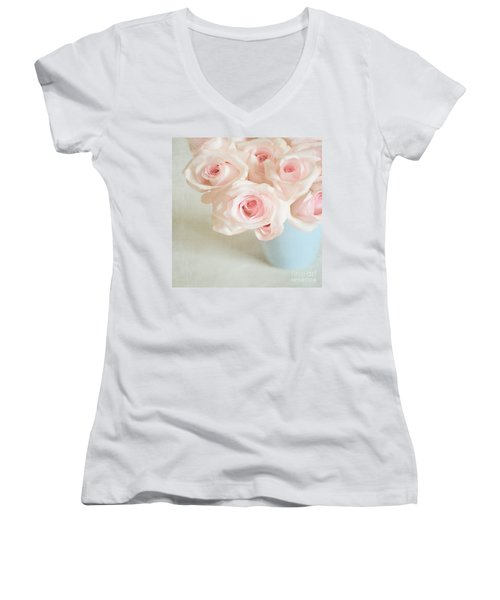 Baby Pink Roses Women's V-Neck T-Shirt (Junior Cut) by Lyn Randle