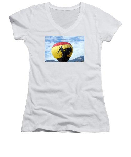 Women's V-Neck T-Shirt (Junior Cut) featuring the photograph Balloon 24 by Deniece Platt