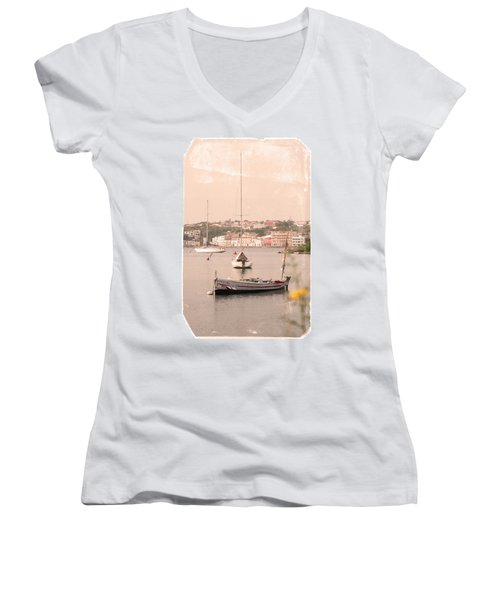 Women's V-Neck T-Shirt (Junior Cut) featuring the photograph Barbara by Pedro Cardona