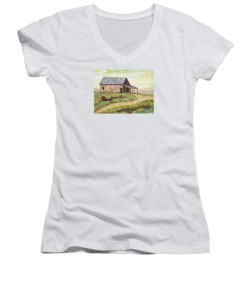 Barn On The Ridge Women's V-Neck T-Shirt (Junior Cut) by Alan Mager