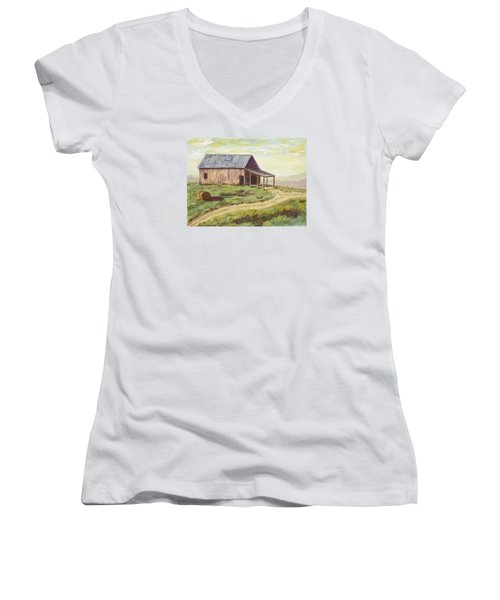 Barn On The Ridge Women's V-Neck (Athletic Fit)