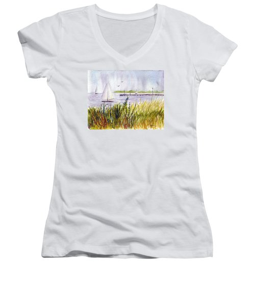Women's V-Neck T-Shirt (Junior Cut) featuring the painting Barnegat Sails by Clara Sue Beym