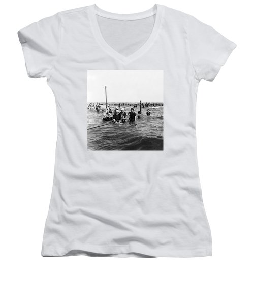 Bathing In The Gulf Of Mexico - Galveston Texas  C 1914 Women's V-Neck T-Shirt