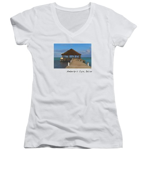 Beach Deck With Palapa Floating In The Water Women's V-Neck