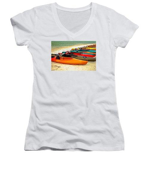 Women's V-Neck T-Shirt (Junior Cut) featuring the photograph Beach Kayaks by Susan Leggett