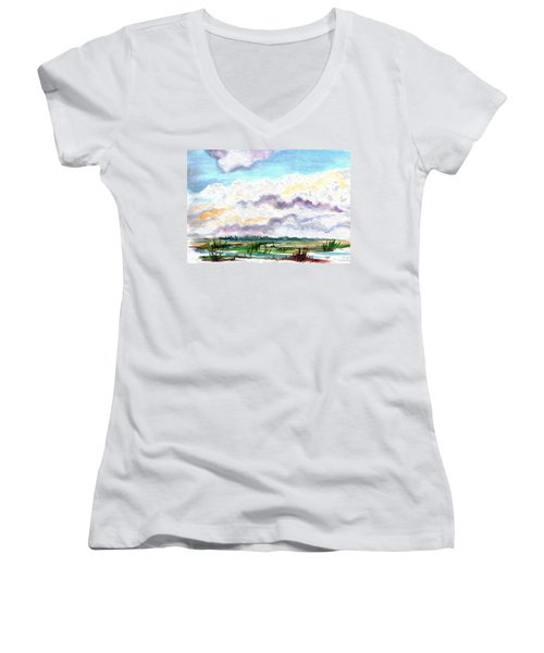 Women's V-Neck T-Shirt (Junior Cut) featuring the painting Big Clouds by Clara Sue Beym