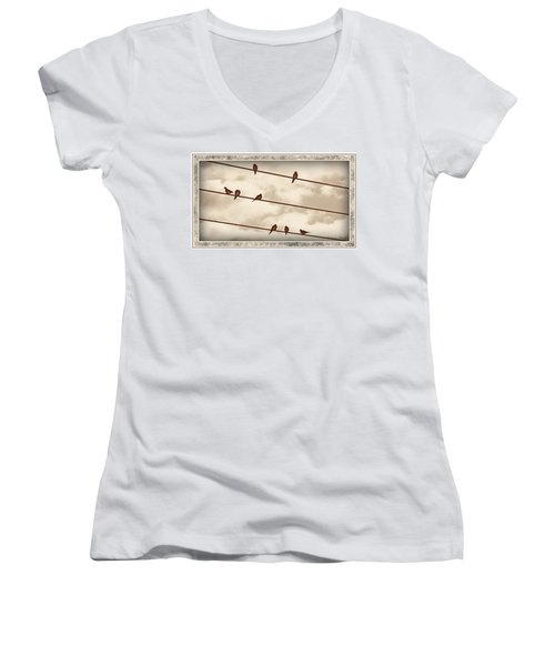 Birds On Wires Women's V-Neck T-Shirt (Junior Cut) by Susan Kinney