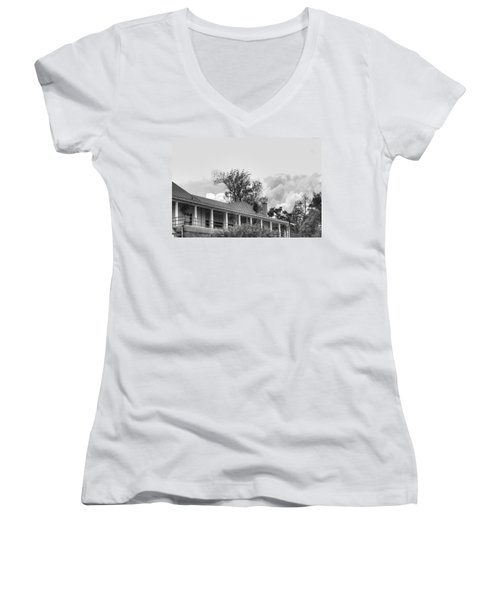 Women's V-Neck T-Shirt (Junior Cut) featuring the photograph Black And White Delaware Casino by Michael Frank Jr