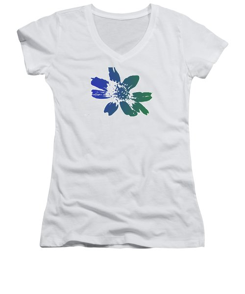 Women's V-Neck T-Shirt (Junior Cut) featuring the photograph Blue In Bloom by Lauren Radke