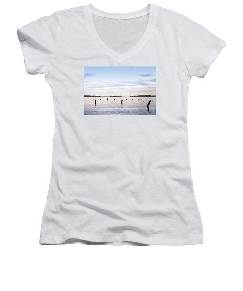 Women's V-Neck T-Shirt (Junior Cut) featuring the photograph Blue Lake Muskoka by Les Palenik