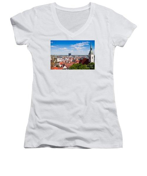 Women's V-Neck T-Shirt (Junior Cut) featuring the photograph Bratislava Roofs by Les Palenik