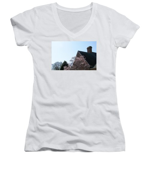 Women's V-Neck T-Shirt (Junior Cut) featuring the photograph Brick And Blossom by Pamela Hyde Wilson