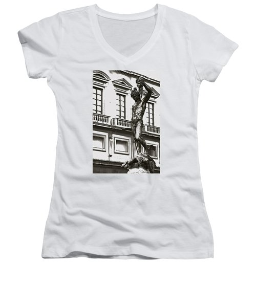 Women's V-Neck T-Shirt (Junior Cut) featuring the photograph Bronze Icon by Eric Tressler