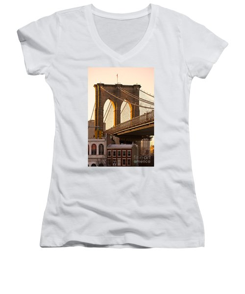 Women's V-Neck T-Shirt (Junior Cut) featuring the photograph Brooklyn Bridge - New York by Luciano Mortula