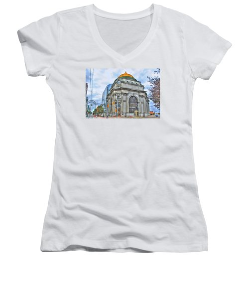 Women's V-Neck T-Shirt (Junior Cut) featuring the photograph Buffalo Savings Bank  Goldome  M And T Bank Branch by Michael Frank Jr