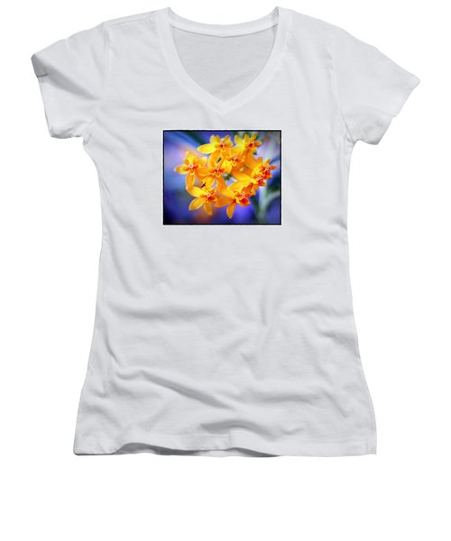 Women's V-Neck T-Shirt (Junior Cut) featuring the photograph Butterfly Weed by Judi Bagwell