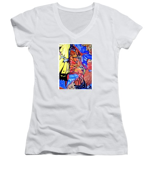 Butterfly Wings Women's V-Neck T-Shirt (Junior Cut) by Sandra Lira