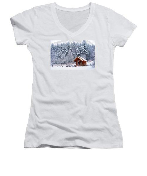 Cabin In The Snow Women's V-Neck