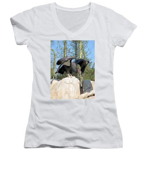 California Condor Women's V-Neck T-Shirt (Junior Cut) by Carla Parris