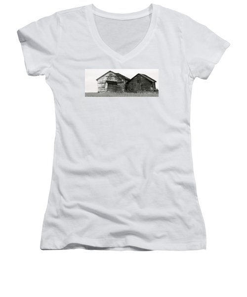 Women's V-Neck T-Shirt (Junior Cut) featuring the photograph Canadian Barns by Jerry Fornarotto