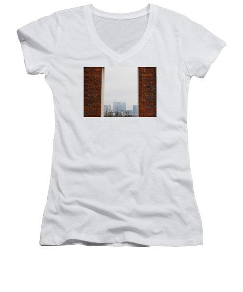 Women's V-Neck T-Shirt (Junior Cut) featuring the photograph Canary Wharf View by Maj Seda